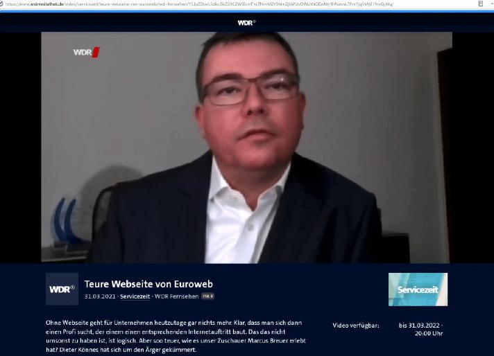 """Rechtsanwalt Dr. Lars Jaeschke, LL.M. - WDR Fernsehen Servicezeit """"Teure Webseite von Euroweb"""""""